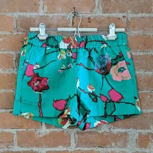 J. Crew Factory Kelly green floral shorts